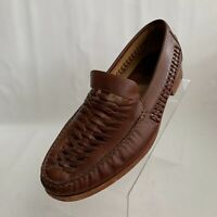 Johnston Murphy Mens Loafers Woven Brown Leather Apron Toe Slip On Shoes Sz 12M