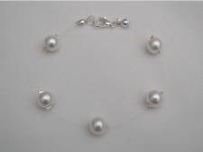 Floating Pearl Illusion Bracelet Silver Gold Rose Gold Bridesmaid Wedding 17E
