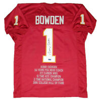 BOBBY BOWDEN AUTOGRAPHED SIGNED FLORIDA STATE SEMINOLES #1 STAT JERSEY COA
