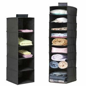 Hanging Wardrobe Storage 5 or 10 Tier Garment Shoe Organiser Clothes Tidy Drawer