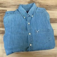 American Eagle Men's Athletic Fit Chambray Work Shirt Button Down Size Medium