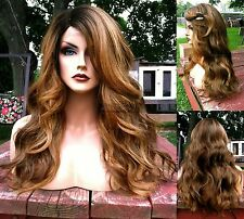 USA: BABY HAIR Blonde Brown Mixed LACE FRONT Wavy HEAT OK Root Wig
