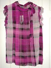 NWT Isabella Rodriguez Fuschia Plaid Ruffle Blouse size Medium retail  $78