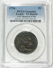 1794 Head of 1794 Flowing Hair Large Cent PCGS Genuine VF Details Sheldon 57