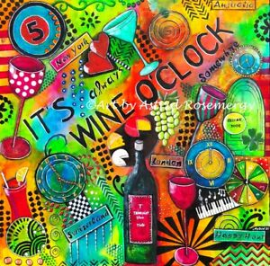"""""""It's always Wine O'Clock somewhere"""" Gift Bar Beer-Original Painting by Astrid"""