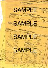 1967 1968 1969 CHEVROLET CAMARO 67 68 69 ORIGINAL BODY PART NUMBER LIST SHEETS !