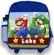 Personalised Kids Blue Backpack Any Name Mario Bros Boys Childrens School Bag