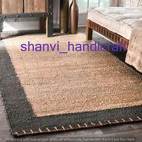 Natural Handmade Indian Braided Rectangle Area Rug Jute Floor Home Decor Carpet
