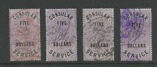 CHINA 1887 GB CONSULAR SERVICE $5 on ONE POUND QV..4 DIFFERENT COLOUR CANCELS L3