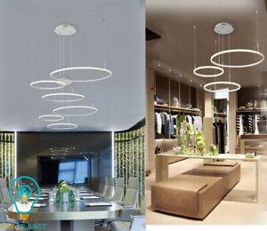 Lampadario led a sospensione design a cerchi moderno bianco con 3 anelli 52 watt