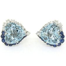 18k Gold 17.41ctw GIA Heart Aquamarine Round Sapphire & Diamond Omega Earrings