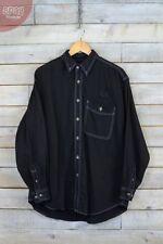 Camicie casual e maglie da uomo nere in denim con colletto