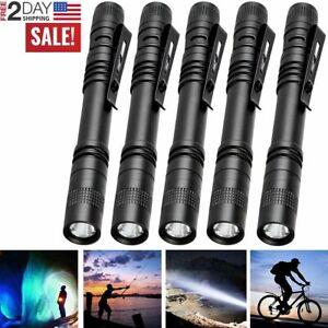 5 x LED Flashlight Clip Mini Light Penlight Pocket Portable Pen Torch Lamp