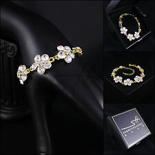 Armschmuck, Armband, Armkette *Blume* Gelbgold pl., Swarovski Elements, +Etui