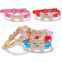 Pet Cat Dog collar Puppy   Crystal Rhinestone Bowknot   Adjustable PU