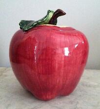 Vintage Metlox Cookie Jar Apple with Large Green Leaf Made in USA