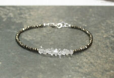 """Excellent Herkimer Diamond & Pyarite Faceted Jewellery Beads L-7"""" A++ Bracelet"""