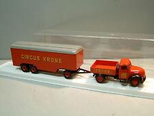 Brekina 4257 Magirus Mercur CIRCUS KRONE & 3-Achs Anhänger Schaustellerwagen