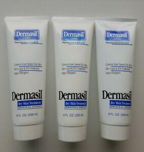 X 3 Dermasil Dry Skin Treatment Original Lotion ~8 FL Oz ~LOT OF 3