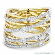 Wrap Ring 14k Yellow White Gold 0.63ct Round Cut Diamond Right-Hand Overlap Loop