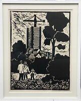 DDR Kunst Wandke Junge Familie vor Neubau Sozialistischer Realismus Linolschnitt