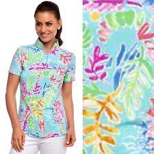 New listing IBKUL Sweat LESS Nessa Seafoam Turquoise Zip Mock Neck Short Sleeve Top UPF50 M