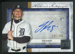 2020 Topps Museum Jake Rogers RC Rookie Autograph Auto 187/299 TIGERS