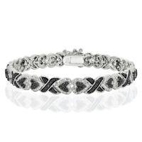 Black Diamond Accent X and Heart Link Tennis Bracelet
