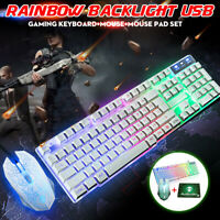 LED RGB Backlit Gaming Keyboard and Mouse and Pad Rainbow Mechanical Feel