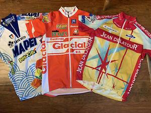 Vintage 90's Mapei, Glacial, Jean Delatour Cycling Jerseys Size 3, L. Full zip.