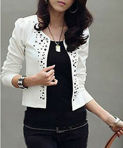 LAST 2 REDUCED £9.95 Lightweight White jacket with Stud Detail Size 6 8 Jackets