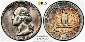 1956-P SILVER WASHINGTON QUARTER PCGS MS64 ROSE COLOR BEAUTIFUL TONED UNC