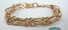 Victorian Style 14k Rose Gold Turquoise Designer Link Bracelet