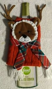FOOD NETWORK PLUSH CHRISTMAS WINE BOTTLE COVER REINDEER IN SWEATER& SCARF