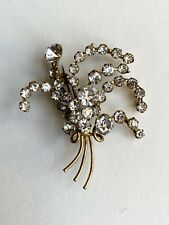 Genuine Vintage Costume Jewellery Diamante Brooch Flower Posy 1940s 50s Glamour!