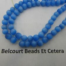 Cat's Eye Beads  65 PC Blue Vibrant Color 6mm Fiber Optic/Loose Gorgeous -