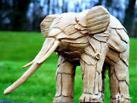 NEW Rustic Wood Effect Elephant Garden Ornament Animal Outdoor Sculpture Statue