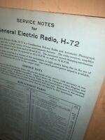 General electric radio model H-72,parts List And Schematics. Original Copy!