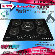 EUROTAG BLACK GLAS 70cm GAS COOKTOP WOK BURNER CAST IRON TRIVETS FLAME FAILURE