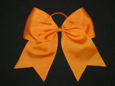 "NEW ""ORANGE"" Cheer Bow Pony Tail 3 Inch Ribbon Girls Hair Bows Cheerleading Kids"