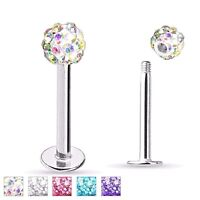 "16G 5/16"" FERIDO BALL CZ GEM CRYSTAL  STEEL LABRET LIP TRAGUS RING STUD"