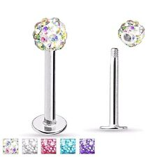 "16G 5/16"" FERIDO BALL CZ GEM CRYSTAL SURGICAL STEEL LABRET LIP TRAGUS RING STUD"