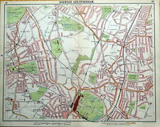 CRYSTAL PALACE,NORWOOD,DULWICH Original London Street Plan Antique Map 1921