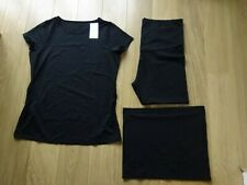 3 PIECE MARKS & SPENCER BLACK MATERNITY SET TOP/LEGGINGS & BUMP BAND UK SIZE 20