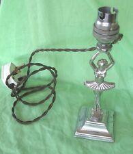 Old antique art deco chrome Ballet Dancer table bedside lamp