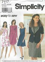 Simplicity 7117 Misses' Jacket and Dress 14, 16, 18   Sewing Pattern