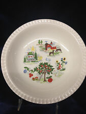 "HARMONY HOUSE FARMER IN THE DELL 8 3/8"" ROUND SOUP BOWL BARN TREE FLUTED EDGE"