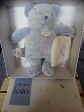 Peluche doudou et compagnie ours pantin bleu mouchoir blanc j'aime mon doudou