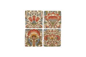 Ceramic Tile Coasters Antique Vintage Style Lotus Flower Design Set of 4