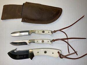 Puma SGB TrophyCare 3-piece White Bone Knife Set With Leather Sheath